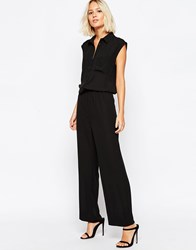 Selected Endora Jumpsuit With Button Front Black