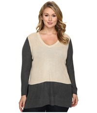 Vince Camuto Plus Size Long Sleeve V Neck Neck Waffle Stitch Color Block Sweater Mushroom Heather Women's Sweater Tan