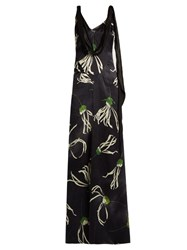 Miu Miu Anemone Print Cowl Neck Satin Gown Blue Multi