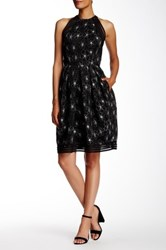 Carmen Marc Valvo Floral Mesh Cocktail Dress Black