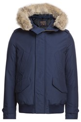 Woolrich Polar Down Bomber Jacket With Fur Trimmed Hood Blue