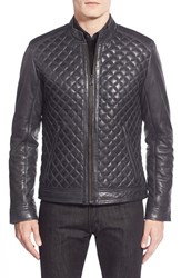 Lamarque Men's Quilted Leather Moto Jacket Navy