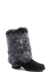 Stuart Weitzman Women's Genuine Long Hair Shearling Boot Anthracite Suede