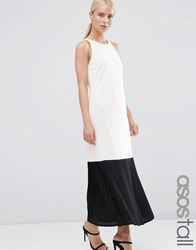 Asos Tall Clean Crepe Maxi Dress With Sheer Pleated Hem Ivoryblack