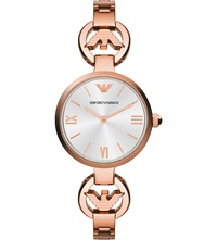 Emporio Armani Ar1773 Retro Rose Gold Toned Watch Silver