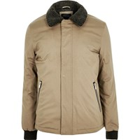 River Island Mens Beige Borg Collar Jacket