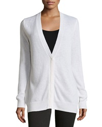 Minnie Rose Cashmere V Neck Boyfriend Cardigan White