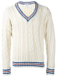 Thom Browne V Neck Jumper White