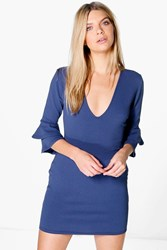 Boohoo Plunge Frill Sleeve Bodycon Dress Vintage Blue