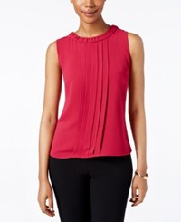 Kasper Pleated Blouse Geranium