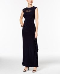R And M Richards Sequined Lace Trim Ruched Gown Navy