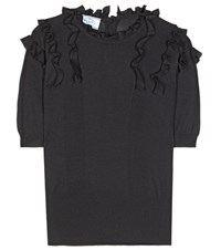 Prada Knitted Wool And Silk Blend Blouse Black