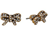 Marc Jacobs Bow Pave Twisted Studs Earrings Crystal Antique Gold