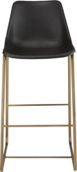 Cb2 Roadhouse Black Leather 30'' Bar Stool