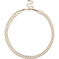 River Island Womens Gold Tone Plait Chain Necklace