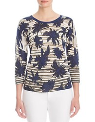 Nic Zoe Petites Palm Tree Top Blue Multi