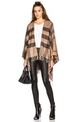 Burberry London Collette Merino Wool Cashmere Check Cape In Checkered And Plaid Brown