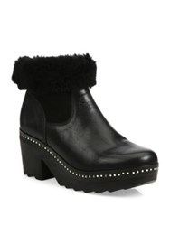 Rag And Bone Nelson Leather Shearling Clog Booties Black