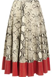 Gucci Pleated Snake Effect Leather Skirt Red Snake Print