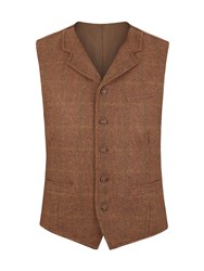 Gibson Tyburn Check Vest With Collar Brown