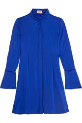 Lanvin Pleated Charmeuse Dress Bright Blue