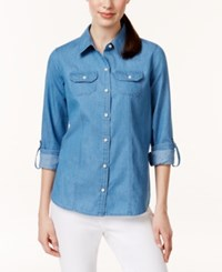 Charter Club Button Down Roll Tab Sleeve Denim Shirt Only At Macy's