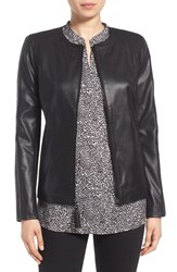 Via Spiga Petite Women's Leather And Ponte Jacket Black