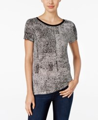 Calvin Klein Jeans Printed Short Sleeve Top Black White Combo