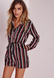Missguided Petite Stripe Long Sleeve Shirt Playsuit Burgundy