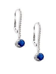 Roberto Coin Sapphire Diamond And 18K White Gold Drop Earrings