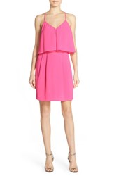 Women's Adelyn Rae Ruffle Crepe Popover Dress Hot Pink