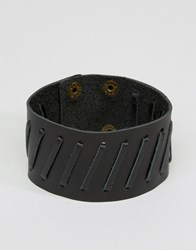 Asos Leather Cuff In Black Black