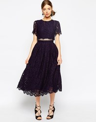 Asos Lace Crop Top Midi Prom Dress Navy