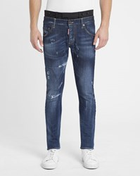 Dsquared Stone Washed Destroy Skinny Tuxedo Jeans Blue