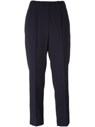 Brunello Cucinelli Pleated Cropped Trousers Blue