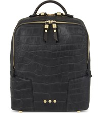 Dell'est Sparrow Small Crocodile Embossed Leather Backpack Black