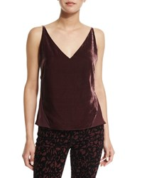 J Brand Jeans Lucy V Neck Camisole Deep Mulberry Size X Small