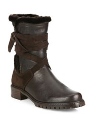 Stuart Weitzman Showshield Leather And Faux Fur Booties Rum Nero