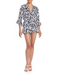 Saks Fifth Avenue Red Floral Print Three Quarter Sleeve Short Jumpsuit Dark Blue