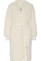Helmut Lang Cotto Reversible Faux Shearling And Gabardine Coat Off White