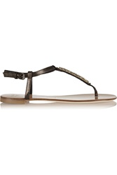 Giuseppe Zanotti Crystal Embellished Metallic Patent Leather Sandal Gray