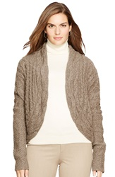 Lauren Ralph Lauren Cable Knit Open Front Cardigan Plus Size Brown Donegal