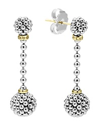 Lagos Sterling Silver Caviar Beaded Drop Earrings With 18K Gold Silver Gold