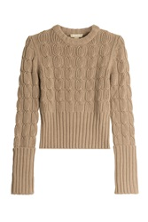 Michael Kors Wool Cashmere Cable Knit Pullover Brown