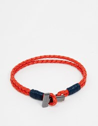 Ted Baker Bracelet Plaited Leather Wrap Orange