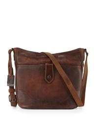 Melissa Button Crossbody Bag Dark Brown Women's Frye