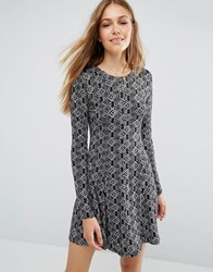 Qed London Printed Long Sleeve Swing Dress Black