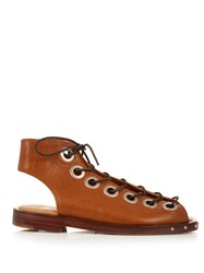 Marques Almeida Lace Up Leather Flat Sandals