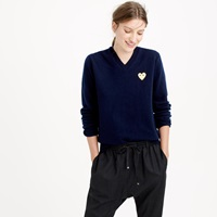 J.Crew Play Comme Des Garcons V Neck Sweater With Gold Heart