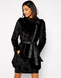 Lipsy Longline Belted Coat With Faux Fur